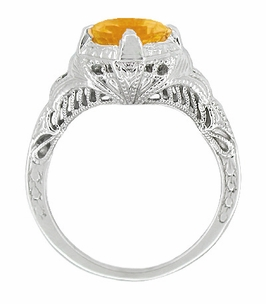 Art Deco Engraved Filigree Citrine Engagement Ring in 14K White Gold - Item SSR161C - Image 1
