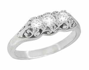 "Filigree ""Three Stone"" Diamond Art Deco Ring in 14 Karat White Gold - Item R890 - Image 1"