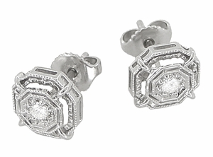 Art Deco Diamond Stud Earrings in Platinum - Item E153P - Image 1