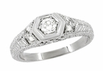Art Deco Engraved Filigree Diamond Engagement Ring in Platinum | Heirloom Low Profile Engagement Band