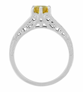 Yellow Sapphire and Diamond Filigree Platinum Engagement Ring - Item R158PYES - Image 2