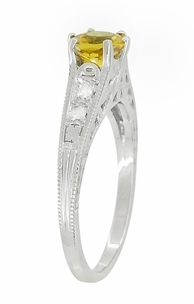 Yellow Sapphire and Diamond Filigree Platinum Engagement Ring - Click to enlarge