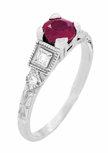 Ruby and Diamond Art Deco Engagement Ring in Platinum - Item R207P - Image 2