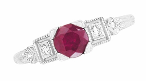 Ruby and Diamond Art Deco Engagement Ring in Platinum - Item R207P - Image 3