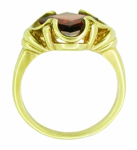 Victorian Square Emerald Cut Pyrope Garnet Ring in 14 Karat Yellow Gold - Click to enlarge