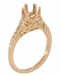 Art Deco 1/2 Carat Crown of Leaves Filigree Engagement Ring Setting in 14 Karat Rose Gold
