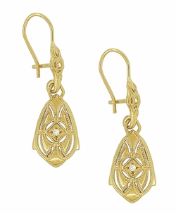 Art Deco Dangling Sterling Silver Diamond Filigree Earrings with Yellow Gold Vermeil - Item E178YD - Image 1
