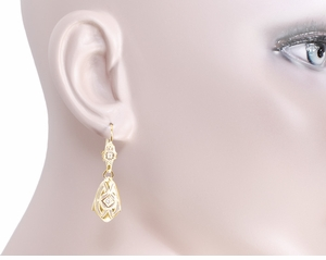 Art Deco Dangling Sterling Silver Diamond Filigree Earrings with Yellow Gold Vermeil - Item E178YD - Image 2