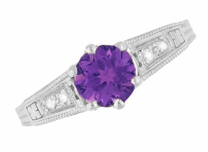 Amethyst and Diamond Filigree Engagement Ring in Platinum - Item R158PAM - Image 5