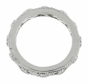 Art Deco Diamond Set Filigree Wedding Ring in 14 Karat White Gold - Size 6 1/2 - Click to enlarge
