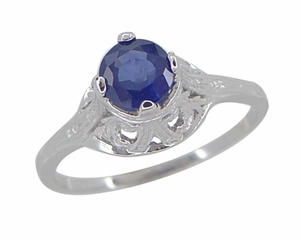 "Filigree Regal Scrolls ""High-Set"" Art Deco Blue Sapphire Engagement Ring in Platinum - Item R586P - Image 1"