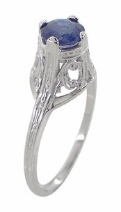 "Filigree Regal Scrolls ""High-Set"" Art Deco Blue Sapphire Engagement Ring in Platinum - Item R586P - Image 2"