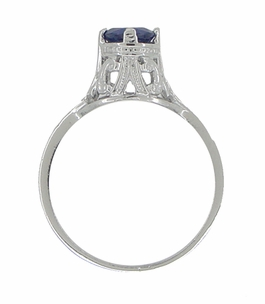 "Filigree Regal Scrolls ""High-Set"" Art Deco Blue Sapphire Engagement Ring in Platinum - Item R586P - Image 3"