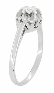 Buttercup Old Mine Cut Diamond Antique 14 Karat White Gold Engagement Ring - Item R1054 - Image 1