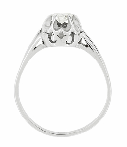 Buttercup Old Mine Cut Diamond Antique 14 Karat White Gold Engagement Ring - Item R1054 - Image 2