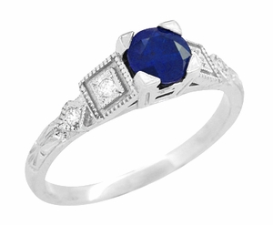 Art Deco Sapphire Engagement Ring in 18 Karat White Gold with Diamonds - Item R194 - Image 1