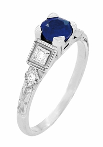 Art Deco Sapphire Engagement Ring in 18 Karat White Gold with Diamonds - Click to enlarge