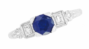 Art Deco Sapphire Engagement Ring in 18 Karat White Gold with Diamonds - Item R194 - Image 3