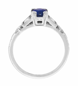 Art Deco Sapphire Engagement Ring in 18 Karat White Gold with Diamonds - Item R194 - Image 4