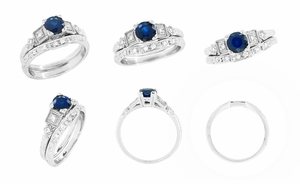 Art Deco Sapphire Engagement Ring in 18K White Gold with Diamonds | Vintage Design - Item R194 - Image 5