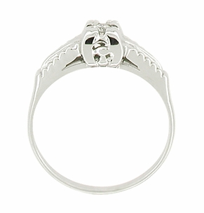 Mid Century Diamond Antique Engagement Ring in 14 Karat White Gold - Click to enlarge