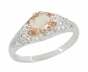 Morganite Oval Filigree Edwardian Engagement Ring in 14 Karat White Gold - Item R799M - Image 1
