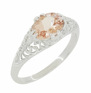 Morganite Oval East West Filigree Edwardian Engagement Ring in 14K White Gold - Item R799M - Image 2