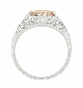 Morganite Oval Filigree Edwardian Engagement Ring in 14 Karat White Gold - Item R799M - Image 3