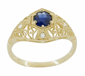 Edwardian Blue Sapphire and Diamonds Scroll Dome Filigree Engagement Ring in 14 Karat Yellow Gold - Item R234Y - Image 1