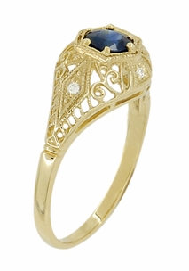 Edwardian Blue Sapphire and Diamonds Scroll Dome Filigree Engagement Ring in 14 Karat Yellow Gold - Click to enlarge