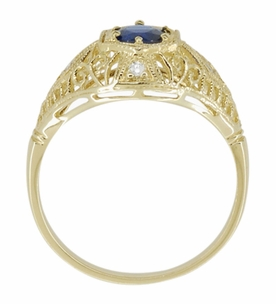 Edwardian Blue Sapphire and Diamonds Scroll Dome Filigree Engagement Ring in 14 Karat Yellow Gold - Item R234Y - Image 3