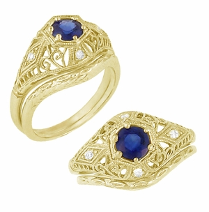 Edwardian Blue Sapphire and Diamonds Scroll Dome Filigree Engagement Ring in 14 Karat Yellow Gold - Item R234Y - Image 4