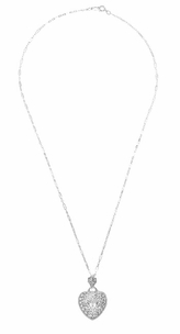 Art Deco Diamond Sterling Silver Filigree Heart Necklace  - Click to enlarge
