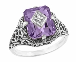 Art Deco Flowers and Leaves Amethyst and Diamond Filigree Ring  in Sterling Silver
