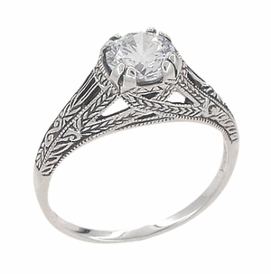Art Deco Cubic Zirconia ( CZ ) Filigree Engraved Engagement Ring in Sterling Silver - Item SSR2CZ - Image 1