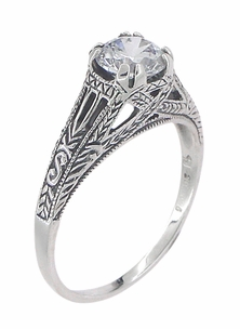 Art Deco Cubic Zirconia ( CZ ) Filigree Engraved Engagement Ring in Sterling Silver - Item SSR2CZ - Image 2