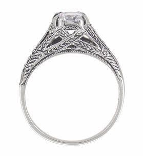 Art Deco Cubic Zirconia ( CZ ) Filigree Engraved Engagement Ring in Sterling Silver - Item SSR2CZ - Image 3