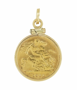 22 Karat Gold Queen Victoria British One Half  Sovereign Coin Pendant - Click to enlarge