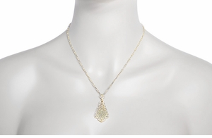 Edwardian Scalloped Leaf Dangling Filigree Pendant Necklace in Sterling Silver with Yellow Gold Vermeil - Item N169Y - Image 3