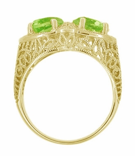 Art Deco Filigree Peridot Loving Duo Ring in 14 Karat Yellow Gold - Click to enlarge