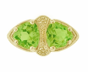 Art Deco Filigree Peridot Loving Duo Ring in 14 Karat Yellow Gold - Item R1129YPER - Image 2