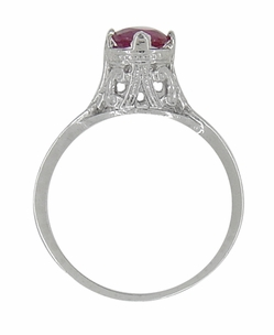 "Filigree Regal Scrolls ""High-Set"" Ruby Art Deco Engagement Ring in Platinum - Item R584P - Image 3"