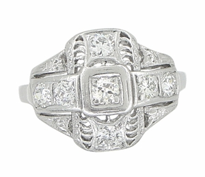 Platinum Art Deco Filigree Cross Diamond Antique Engagement Ring - Click to enlarge