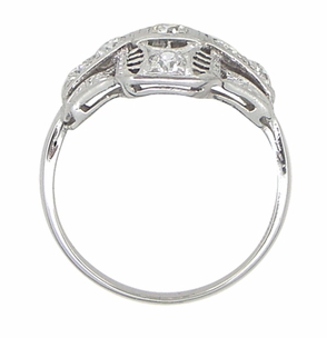 Platinum Art Deco Filigree Cross Diamond Antique Engagement Ring - Item R867 - Image 2
