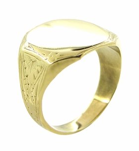 Mens Victorian Rectangular Sunburst Engraved Signet Ring in 14 Karat Yellow Gold - Click to enlarge