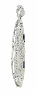 Art Deco Filigree Sapphire and Diamond Lavalier Pendant Necklace in 14 Karat White Gold - Click to enlarge