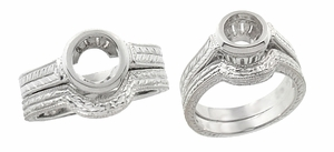 Art Deco Curved Engraved Wheat Wedding Ring in 18 Karat White Gold - Click to enlarge