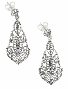 Art Deco Filigree Sapphires and Scrolls Dangling Earrings in Sterling Silver - Item SSE127S - Image 1