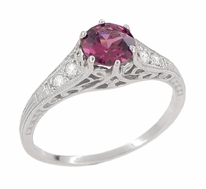 Vintage Style Raspberry Rhodolite Garnet and Diamond Filigree Engagement Ring in 14 Karat White Gold - Click to enlarge