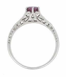 Raspberry Rhodolite Garnet and Diamond Filigree Engagement Ring in Platinum - Item R158GP - Image 1